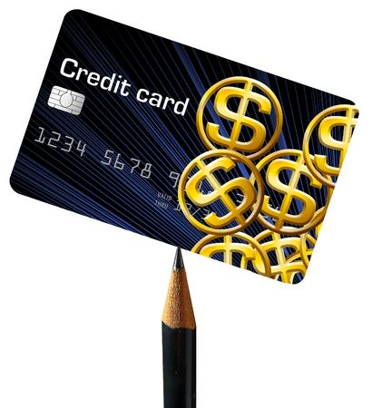 A credit card balanced on a pencil point illustrates card balances. Banco de Imagens