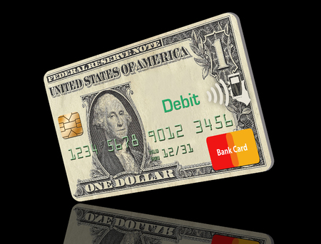 This illustration is about going cashless, not carrying cash. Credit card only is the way to go and this illustration shows a card made with a dollar design on the card. Stock Photo