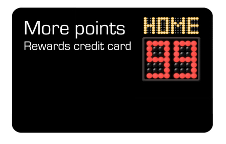 Here is a credit card that offers more points rewards and features a basketball scoreboard in the design. Stock Photo