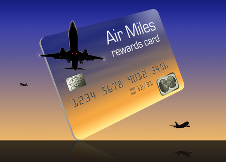 Here is an air miles reward credit card isolated on a white background. It is also known as a frequent flier credit card. Stock Photo