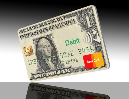 This illustration is about going cashless, not carrying cash. Credit card only is the way to go and this illustration shows a card made with a dollar design on the card. Banco de Imagens - 110205666