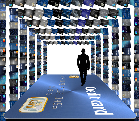Credit cards, many of them form frames to be used in page designs. 写真素材