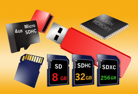 Here are flash memory storage devices in various forms, thumb drive, computer chip, storage cards, etc.