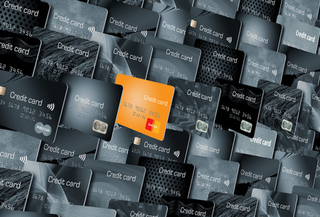 Here is one credit card standing out from many other cards because of its color. It illustrates an outstanding credit card, a one in a thousand card.