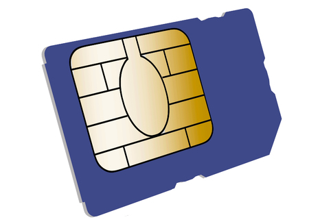 Here is a cell phone SIM card that is seen isolated on a white background.