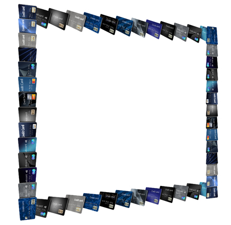 Credit cards, many of them form frames to be used in page designs. Reklamní fotografie