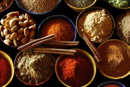 Here is a photograph of Moroccan spices including cinnamon, paprika and nutmeg. Almonds are in the photo also.