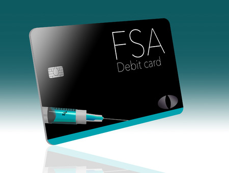 This is a flexible spending account debit card. This FSA card is generic with mock logos.  This is an illustration.