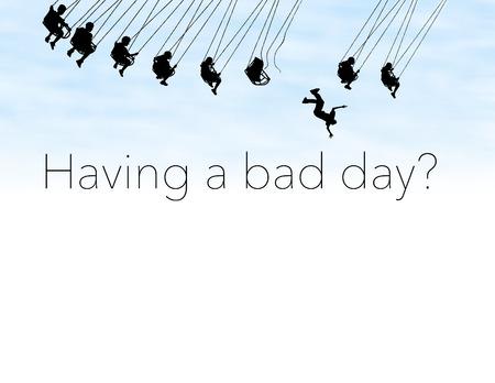 Einen schlechten Tag haben? Ich hoffe, es ist kein so schlimmer Tag wie dieser Typ in dieser Illustration. Hier fliegt jemand von einer kaputten Karnevalsfahrt.
