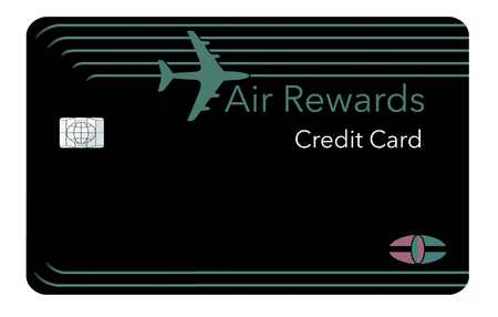 Here is a mock air miles reward credit card that features a plane in the design. The card  has a generic logo and EMV chip. It is an illustration.