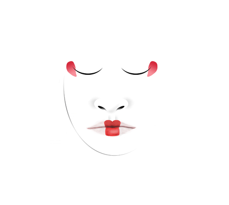 This is an illustration of a Japanese geisha's unusual facial makeup. Here lips and eyes are carefully defined in red with a fine tipped brush dipped in makeup. This is isolated on white background. 写真素材