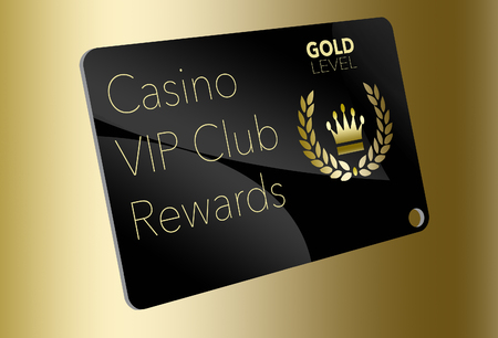 Here is a casino VIP club rewards card for loyal gamblers. Here is a gold level member's card with a crown and laurel left logo. Banco de Imagens