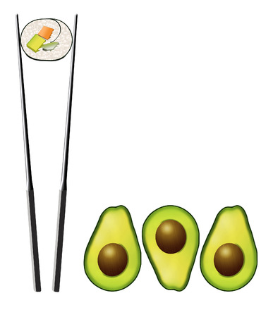 Avocado halves with pits are seen next to a sushi roll that contains carrot, avocado and cucumber. Avocado is a heart healthy food and is shown isolated on a white background. Stock Photo