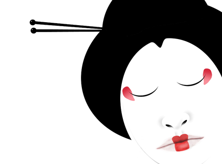 Geisha hair sticks are illustrated here. Hair sticks are sometimes used in modern fashion but originated with Japanese geisha as shown here in black, white and red. Stock fotó