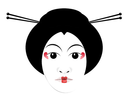 Geisha hair sticks are illustrated here. Hair sticks are  used in modern fashion but originated with Japanese geisha as shown here in black, white and red isolated on a background.