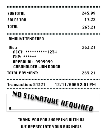 A retail receipt indicates no signature required for using a credit card.