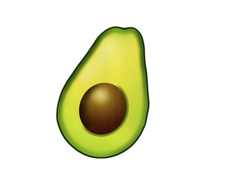 Avocado is a heart healthy food and is shown isolated on a white background. This is an illustration.