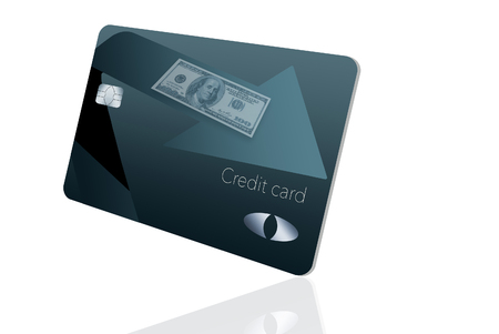 Here is a cash back rewards credit card. It is blue and black with an arrow pointing the direction of the cash coming back to the cardholder.