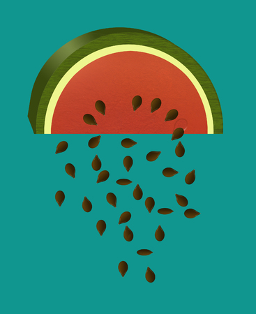 Watermelon slices are the subject of this color illustration. A slice of melon is seen isolated on a background. Imagens