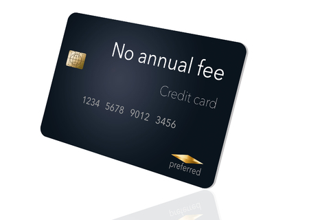 Here is a credit card where the cardholder does not have to pay and annual fee. It says: no annual fee on the card that is isolated on the background. Archivio Fotografico - 112189807