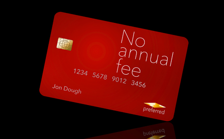 Here is a credit card where the cardholder does not have to pay and annual fee. It says: no annual fee on the card that is isolated on the background.