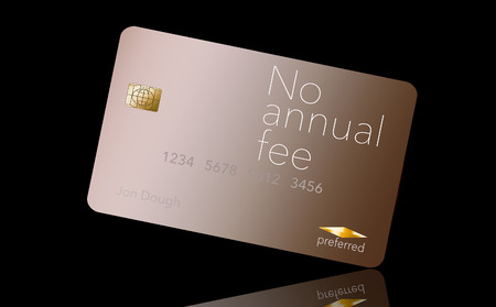 Here is a credit card where the cardholder does not have to pay and annual fee. It says: no annual fee on the card that is isolated on the background. Archivio Fotografico - 112189829