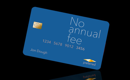 Here is a credit card where the cardholder does not have to pay and annual fee. It says: no annual fee on the card that is isolated on the background. Archivio Fotografico - 112189834