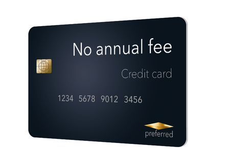 Here is a credit card where the cardholder does not have to pay and annual fee. It says: no annual fee on the card that is isolated on the background. Archivio Fotografico - 112189858
