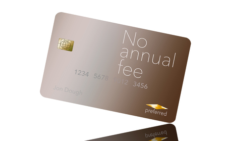 Here is a credit card where the cardholder does not have to pay and annual fee. It says: no annual fee on the card that is isolated on the background. Archivio Fotografico - 112189949