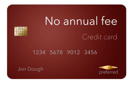 Here is a credit card where the cardholder does not have to pay and annual fee. It says: no annual fee on the card that is isolated on the background. Archivio Fotografico - 112189952