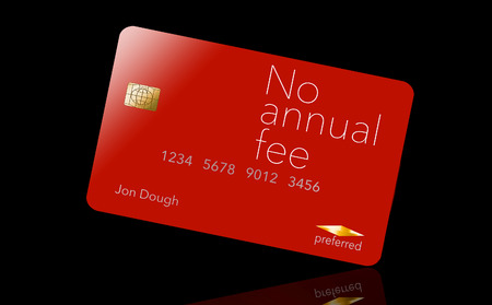 Here is a credit card where the cardholder does not have to pay and annual fee. It says: no annual fee on the card that is isolated on the background. Archivio Fotografico - 112189955