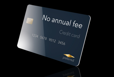 Here is a credit card where the cardholder does not have to pay and annual fee. It says: no annual fee on the card that is isolated on the background. Archivio Fotografico - 112189966
