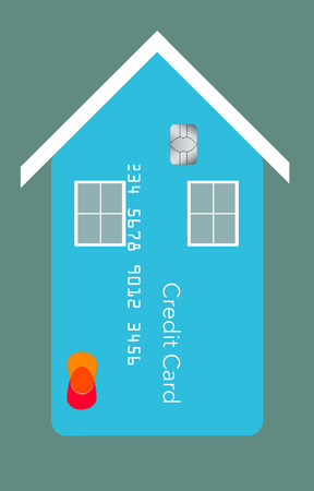 Home improvements, utility bills and repair expenses can end up on your credit card. Here is an illustration about that situation showing homes that have credit card facades. Home owners in credit card debt is the theme.