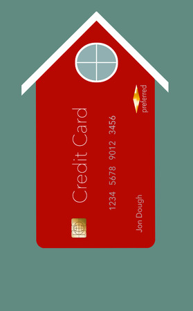 Home improvements, utility bills and repair expenses can end up on your credit card. Here is an illustration about that situation showing homes that have credit card facades. Home owners in credit car 写真素材