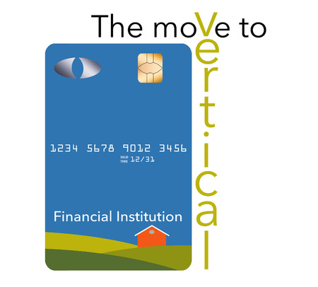 EMV chips have led to a redesign of some credit cards to a vertical or portrait format. Here is a mock generic credit card that is in the new vertical orientation. It is isolated on a white background.