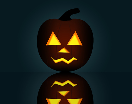 Here is a Halloween illustration featuring a  glowing jack-o-lantern