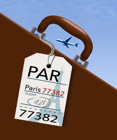 An airline luggage tag hangs from a suitcase or briefcase as an airliner flies high above in the background. This travel tag is for PAR which is Paris.