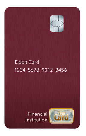 EMV chips have led to a redesign of some credit cards to a vertical or portrait format. Here is a mock generic credit card that is in the new vertical orientation. Isolated on a white background.