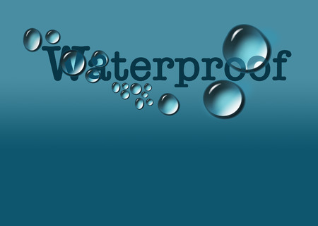 The word waterproof is dotted with water beads, water drops in this illustration in blue. Text area is included around the image.