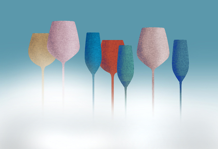 Long stem glassware with a textured color finish is seen in this illustration.