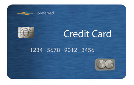 Here is a metal credit card that is blue with a brushed metal finish. This is an illustration and it is a generic, mock card with mock logos etc.