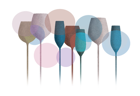 Long stem glassware with a textured color finish is seen in this illustration. Standard-Bild - 112190538