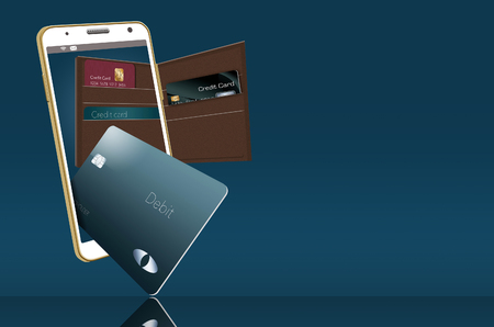 Mobile wallet is illustrated here with a leather wallet and credit cards are in and around a cell phone that is used for mobile banking and purchases. Stock fotó