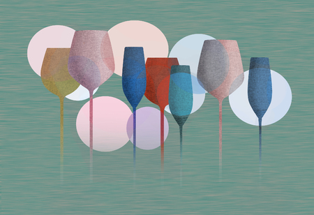 Long stem glassware with a textured color finish is seen in this illustration. Standard-Bild - 112190543