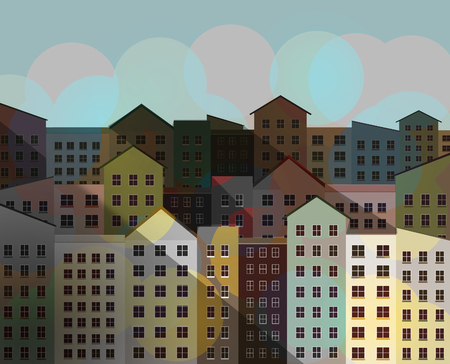 City buildings, apartments in a downtown neighborhood are seen in an illustration.