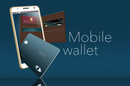 Mobile wallet is illustrated here with a leather wallet and credit cards are in and around a cell phone that is used for mobile banking and purchases. Stockfoto