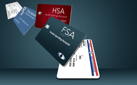 Here is an illustration with five of the healthcare insurance cards you might be carrying. These include: Medicare, Medicaid, HSA, FSA, Rx discount, Rx supplemental, medical supplemental, Rx insurance 写真素材