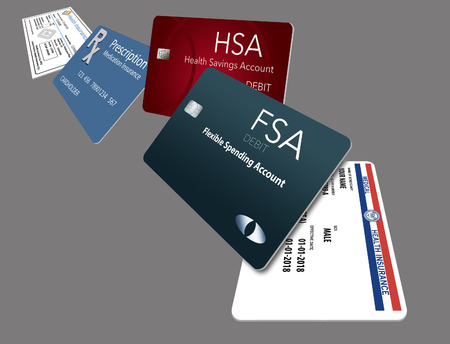 Here is an illustration with five of the healthcare insurance cards you might be carrying. These include: Medicare, Medicaid, HSA, FSA, Rx discount, Rx supplemental, medical supplemental, Rx insurance, dental