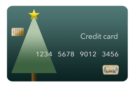 A Christmas themed credit card with a tree decorated with gold star. This is an illustration.