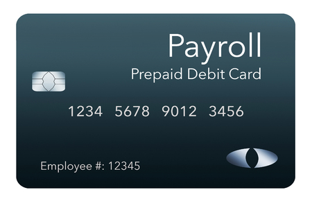 Here is a payroll debit card. It is a pre-paid debit card used to pay employees their payroll wages. It is and illustration. Stock Photo